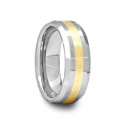 506I - Beveled Tungsten Carbide Ring with Gold Inlay