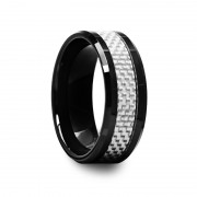 Black Ceramic Beveled Edged Ring with White Carbon Fiber Inlay