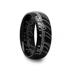 Black Domed Tungsten Carbide Ring with Engraved Writing