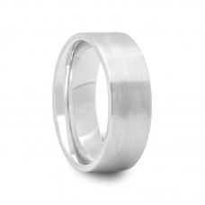 108T - Mens Pipe Cut Brush Finish Tungsten Ring with Smooth Edges