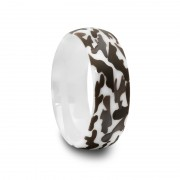 417C - White Ceramic Ring with Laser Engraved Camouflage