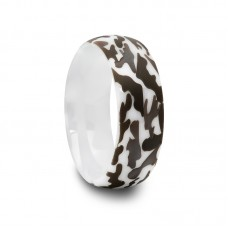 White Ceramic Ring with Laser Engraved Camouflage
