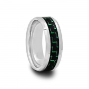 Tungsten Carbide Ring with Black & Green Carbon Fiber