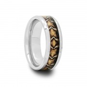162T - Tungsten Carbide Ring with Snake Skin Inlay