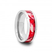 160T - Tungsten Carbide Ring with Pink and White Camouflage Inlay