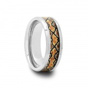 Mens Tungsten Carbide Ring with Boa Snake Inlay