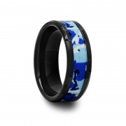 412C - Black Ceramic Ring with Blue and White Camouflage Inlay