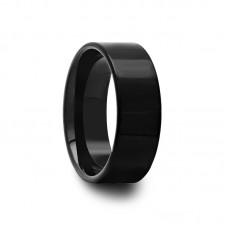 201B - Polished Pipe Cut Black Tungsten Carbide Ring