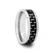 Tungsten Ring with Black & Silver Carbon Fiber