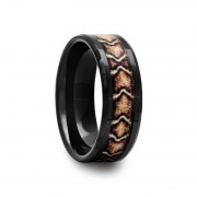 409C - Black Ceramic Ring with Snake Inlay