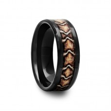 Black Ceramic Ring with Snake Inlay