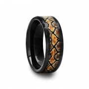 408C - Black Ceramic Ring with Boa Snake Inlay