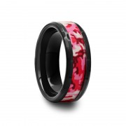 411C - Black Ceramic Ring with Pink and White Camouflage Inlay