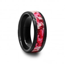 Black Ceramic Ring with Pink and White Camouflage Inlay