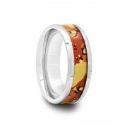 Mens Tungsten Carbide Ring with Orange Camouflage Inlay