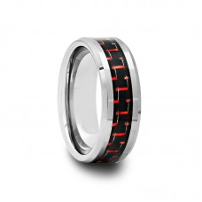 Tungsten Carbide Ring with Black & Red Carbon Fiber