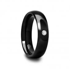 Domed Black Ceramic Ring with White CZ