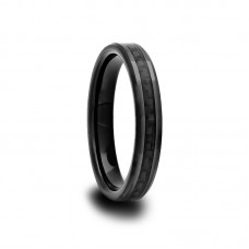 Black Ceramic Beveled Edged Ring with Black Carbon Fiber Inlay