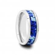 159T - Mens Tungsten Carbide Ring with Blue and White Camouflage Inlay