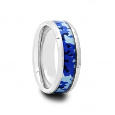 Mens Tungsten Carbide Ring with Blue and White Camouflage Inlay