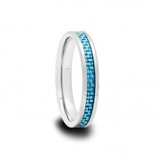 Tungsten Carbide Ring with Sky Blue Carbon Fiber Inlay