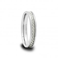 White Carbon Fiber Tungsten Carbide Ring 4 mm
