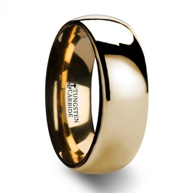 ORO Traditional Domed Gold Plated Tungsten Carbide Wedding Ring - 4mm - 10mm