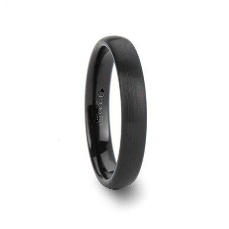 RAIDER Domed Brush Finished Black Tungsten Wedding Band - 4mm - 12mm