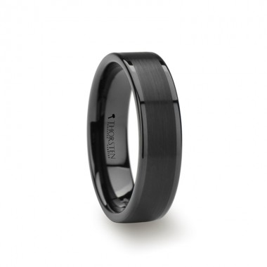 VULCAN Flat Black Tungsten Ring with Brushed Center & Polished Edges - 4mm - 12mm