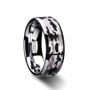 ARMISTICE Beveled Tungsten Carbide Ring with Laser Engraved Camo Pattern - 8 mm