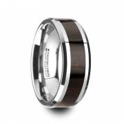 ARCANE Ebony Wood Inlaid Tungsten Carbide Ring with Bevels - 8mm