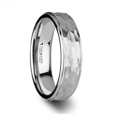 WINSTON White Tungsten Ring with Raised Hammered Finish and Polished Step Edges - 4mm - 10mm