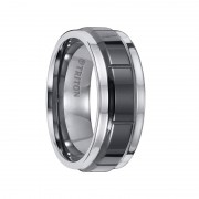 Triton Ring 8mm Tungsten Carbide Comfort Band with Black Ceramic Center Inlay