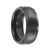 Triton Ring 9mm Black Tungsten Carbide Bright Polished Step Edge with Center Satin Finish and bright cut parallel lines Comfort Fit Band