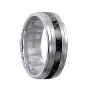 Triton Ring 8mm Tungsten Carbide Step Edge Comfort Fit Band with Black Carbon Fiber Inlay