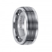 Triton Ring 8mm Tungsten Carbide Bright Polished Comfort Fit Band with Black Ceramic Inlay