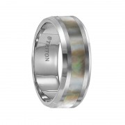 Triton Ring 8mm Beveled Edge Tungsten Carbide Comfort Fit Band with Abalone Shell Inlay