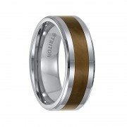 Triton Ring 8mm Beveled Edge Tungsten Carbide Comfort Fit Band with Tiger Eye Inlay