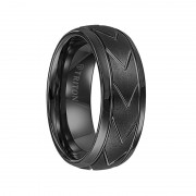 Triton Ring 8mm Domed Black Tungsten Carbide Comfort Fit Band with Brush Finish Center and Chevron Pattern Cuts