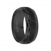 Triton Ring 9mm Coin Edge Textured Black Tungsten Carbide Wedding Band with Beveled Step Edges and Diagonal Grooves