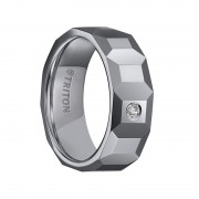 Triton Ring 8mm Polish Finished Faceted Tungsten Carbide Comfort Fit Wedding Band with Single Diamond Setting