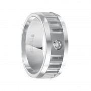 Triton Ring 8mm White Tungsten Carbide Ring with Corrugated Textured Center, Bright Polished Rims and Single Diamond Setting