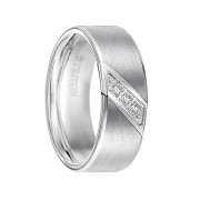 Triton Ring 8mm White tungsten carbide satin finish band with diagonal diamonds set in stainless steel
