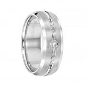 Triton Ring 8mm White Tungsten carbide Bevel Edge Band Satin Finish Comfort Fit Diamond Band with Bright Center Cut
