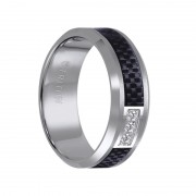 Triton Ring 8mm Tungsten carbide Bevel Edge Comfort Fit diamond band with black carbon fiber inlay