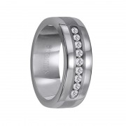 Triton Ring 8mm Flat Pipe Cut Tungsten Carbide Wedding Band with 9 Channel Set Diamonds Set in an 18k White Gold Inlay
