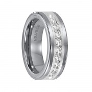 Triton Ring 8mm Tungsten carbide comfort fit band with satin finish silver inlay and channel set diamonds