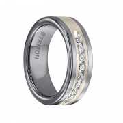 Triton Ring 8mm Tungsten carbide comfort fit wedding band with Satin finish silver inlay and channel set diamonds