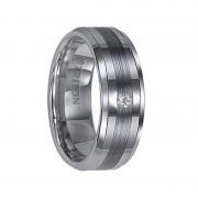 Triton Ring 8mm Tungsten carbide Bevel Edge comfort fit diamond band with center satin finish