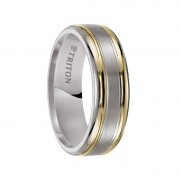 Triton Ring 7mm Titanium comfort fit wedding band with 18K gold inlay